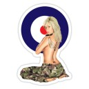 Sticker pinup oldschool army blonde cocarde tattoo girl old pin up 40