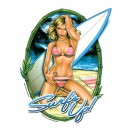 Sticker Pin Up surfs up surfer girl medium AD463