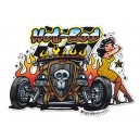 Sticker Bigdaddyjo hot rod pinup skull rat rod BIG42