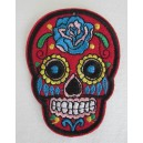 Patch ecusson skull dia de la muerte rouge day of dead sugar skull