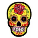 Patch ecusson skull dia de la muerte jaune day of dead sugar skull