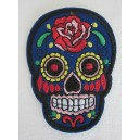 Patch ecusson skull dia de la muerte bleu day of dead sugar skull