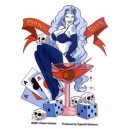 Sticker pinup lady death man's ruin lucky girl games card dice ace skull CD884