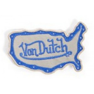 Patch ecusson von Dutch signature forme californie bleu fond gris