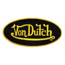 Patch ecusson von Dutch signature ovale jaune fond noir