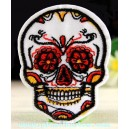 Patch ecusson skull dia de la muerte blanche day of dead sugar skull