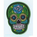 Patch ecusson skull dia de la muerte vert day of dead sugar skull