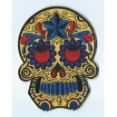 Patch ecusson skull dia de la muerte day of dead jaune croix fleurs