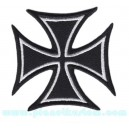 Patch ecusson iron cross Biker croix de malt chopper kustom black noir
