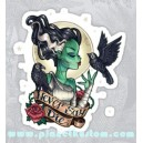sticker never say die lady zombie girl corbeau zombie girl 6