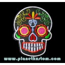 Patch ecusson skull dia de la muerte noir day of dead sugar skull