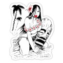 sticker sexy pinup cartoon hula girl and tiki pinup cartoon 12