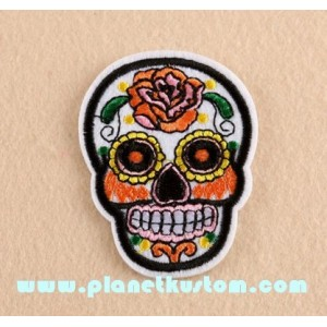 Patch ecusson skull dia de la muerte blanc day of dead sugar skull