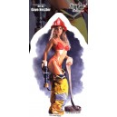 Sticker Pin up sexy firefighter girl sexy pompier guerriere du feu JA506