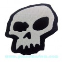 Patch ecusson skull silver on blanck