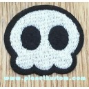 Patch ecusson skull silver on black toon tete de mort cartoon