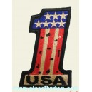 Patch ecusson 1 one USA flag number one biker used