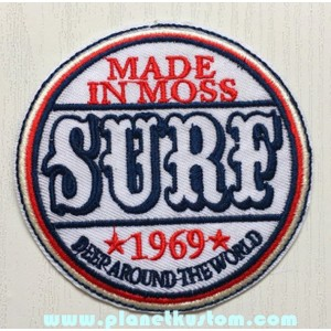 Patch ecusson thermocollant mad in moss surf 1969 surfeur