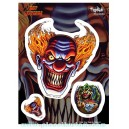 Sticker lot de 3 evil clowns méchants démon JA356