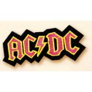 Patch ecusson AC DC hard rock pink on black lady girly