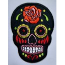 Patch ecusson skull dia de la muerte black day of dead sugar skull