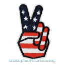 Patch ecusson hand fingers V signe victoire paix salut bikers USA flag