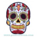 Patch ecusson skull dia de la muerte day of dead blanc croix toile