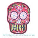 Patch ecusson skull dia de la muerte day of dead rouge coeur