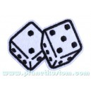 Patch écusson white dice dés blanc seven sept chance luck