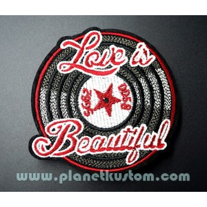 Patch ecusson thermocollant rock n roll disque vinyl love is beautiful