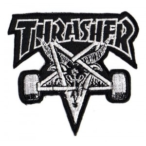 Patch ecusson thermocollant thrasher skate pentacle diable