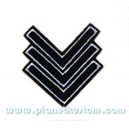 Patch ecusson thermocollant army sergent chef silver on black