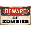 Sticker panneau used beware of zombies rats rusted zombie 27