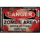Sticker panneau used danger zombie area rats rusted zombie 28