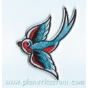 Patch ecusson hirondelle gauche bleu et rouge swallow blue red