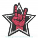 Patch ecusson thermocollant hand rock star etoile main
