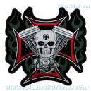 Patch ecusson skull vtwin biker tete de mort flaming iron cross grand