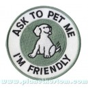 Patch ecusson thermocollant ask to pet i am friendly petit chien