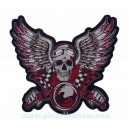 Patch ecusson skull old biker tete de mort wings ailes moto grand