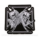 Patch ecusson skull biker tete de mort iron cross ange et demon grand