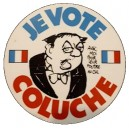 Sticker je vote coluche president 1981 old propre petit