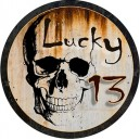 Sticker lucky 13 skull rusty tete de mort rouille used rats