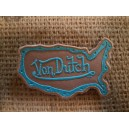 Patch ecusson von Dutch signature forme californie bleu fond beige