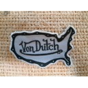 Patch ecusson von Dutch signature forme californie noir fond gris