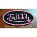 Patch ecusson von Dutch signature ovale rose fond noir
