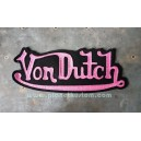 Patch ecusson von Dutch signature fushia fond noir dos large