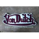 Patch ecusson von Dutch signature violet fond bleu ciel dos large
