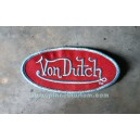 Patch ecusson von Dutch signature ovale bleu fond bordeau