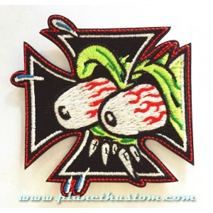 Patch ecusson thermocollant rat fink eyes monster on iron cross