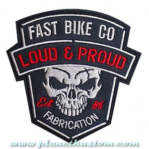 Patch ecusson biker fast bike loud & proud skull fabrication